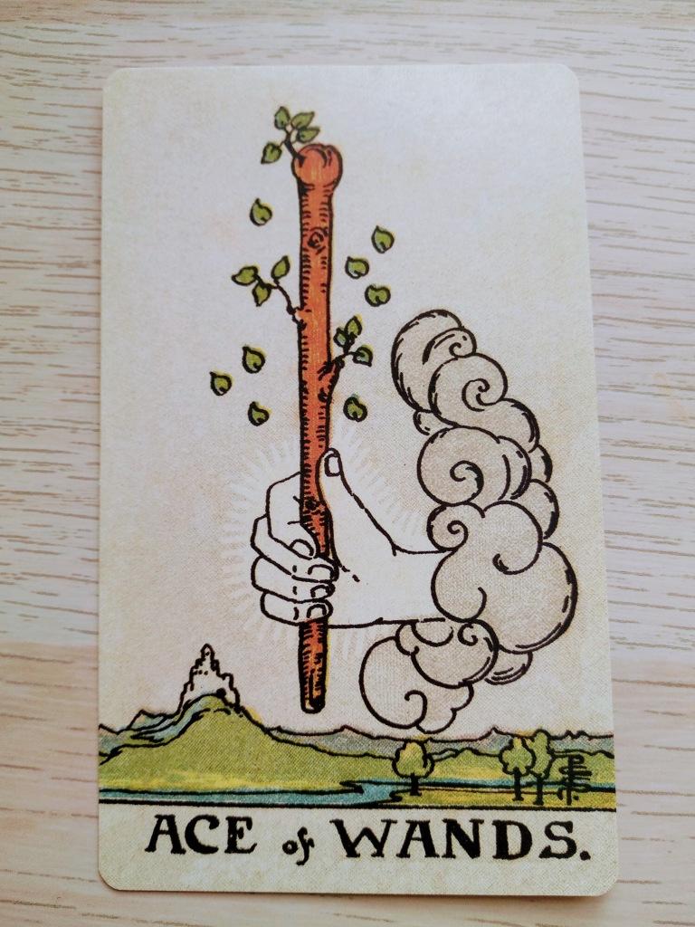 Una mano en el cielo sostiene una vara de madera apuntando hacia arriba. La vara tiene algunas ramitas con hojas verdes. En el suelo hay un paisaje verde, con una colina, un río y algunos árboles.